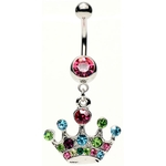 Dangling Princess Crown Belly Ring