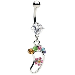 Multi Colored Footprint Belly Ring