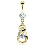 Fancy Gem Gold Plated Dangling Belly Ring