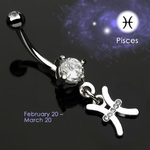 Body Jewelry Pisces Zodiac CZ Navel Ring