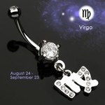 Body Jewelry Virgo Zodiac CZ Navel Ring