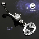 Body Jewelry Cancer Zodiac CZ Navel Ring