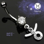 Body Jewelry Taurus Zodiac CZ Navel Ring