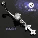 Body Jewelry Sagittarius Zodiac CZ Navel Ring