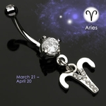 Body Jewelry Aries Zodiac CZ Navel Ring
