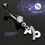 Body Jewelry Capricorn Zodiac CZ Navel Ring