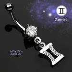 Body Jewelry Gemini Zodiac CZ Navel Ring