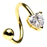 14 Kt Yellow Gold Heart Twist Navel Ring