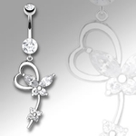 White Gold Heart w/Butterfly Dangle Navel Ring