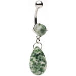 Precious Green/Purple Stone Dangling Navel Ring
