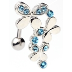 Triple Butterfly Top Down Navel Ring