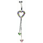 Multi-Colored Heart Dangle Navel Ring