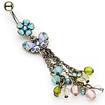 Vintage Flower w/Butterfly and Beads Dangling Navel Ring