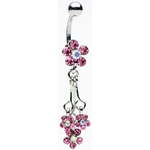 Sparkling Flower Dangling Navel Ring