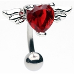 Winged Heart Top Down Navel Ring