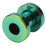 4 Gauge Green Titanium Plated Screw Fit Flesh Tunnels