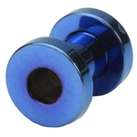 4 Gauge Blue Titanium Plated Screw Fit Flesh Tunnels image