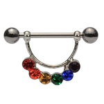 Rainbow Curve Dangle Nipple Ring