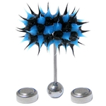 Black & Blue Koosh Ball Thrasher Vibrating Tongue Ring