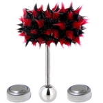 Black & Red Koosh Ball Thrasher Vibrating Tongue Ring