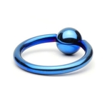 Blue Titanium Captive Bead Ring