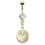 Clear Gold Plated Elegant Belly Button Ring