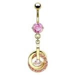 Pink Gold Plated Elegant Belly Button Ring