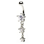 Clear Dangling Triple Star Belly Ring