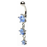 Light Blue Dangling Triple Star Belly Ring