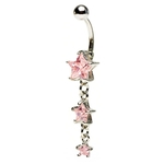 Pink Dangling Triple Star Belly Ring