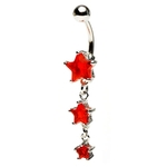Red Dangling Triple Star Belly Ring