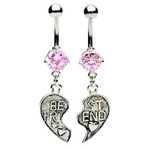Pink Best of Friends Belly Rings