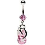 Pink Cosmo Swirl Dangle Navel Ring