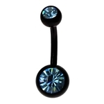 Aqua-Black Titanium Double Gem Belly Ring