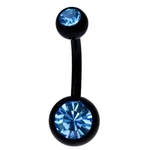 Blue-Black Titanium Double Gem Belly Ring