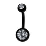 Clear-Black Titanium Double Gem Belly Ring