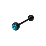 Aqua-Black Bio Flex Jewel Tongue Ring