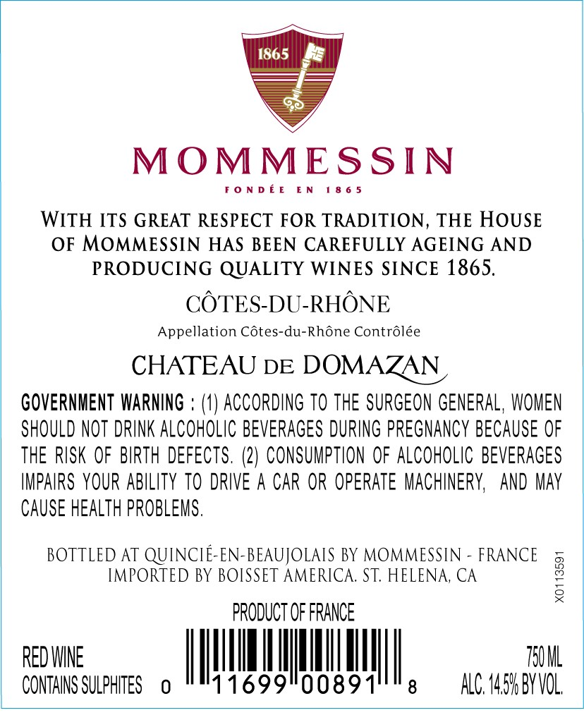 Chateau de Domazan Cotes du Rhone Domaines Mommessin