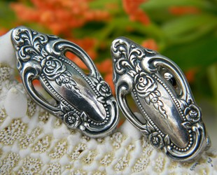 Silverware_flatware_earrings_vintage_rose_pattern_clip_ons