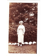 Old Photo WOMAN in WHITE Vintage Photograph  - $6.00