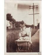 Vintage Photograph Cute Baby in Wicker Pram Bab... - $6.00