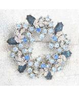 Fabulous Blue & Crystal Rhinestone Wreath Brooc... - $29.95