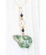 Judy Strobel Carved Tree Agate Bear Pendant - $29.95