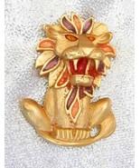 Enamel Golden Leo Lion 1980s Delightful Brooch ... - $15.95