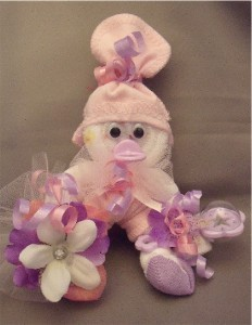 Pink Purple Girl Mini Sock Corsage and Baby Gift in One