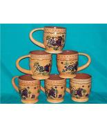 LORILYNN SIMMS 6 HANDPAINTED MUGS GRAPE DESIGN VGC - $60.00