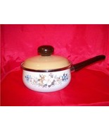 Vintage Flowered Enamel Sauce Pan With Crown Ma... - $30.00