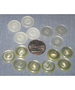 Button Lot x15 White Clear 2-hole 3/4 inch Buttons - $3.75