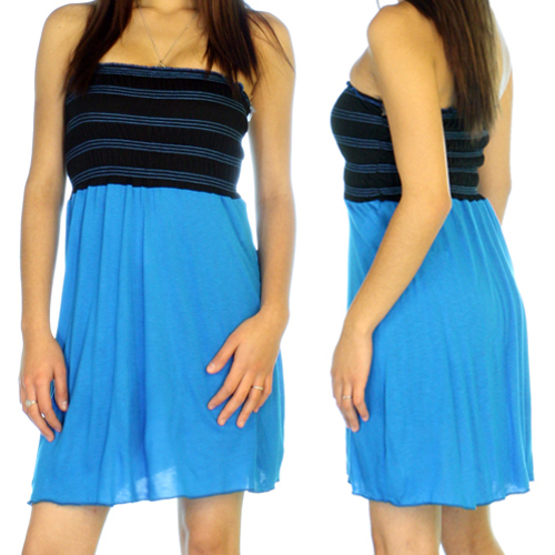Women Black BLUE TUBE TOP Petite Mini DRESS Medium
