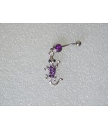 Alligator Belly Button Ring Purple Crystal 316 ... - $5.00